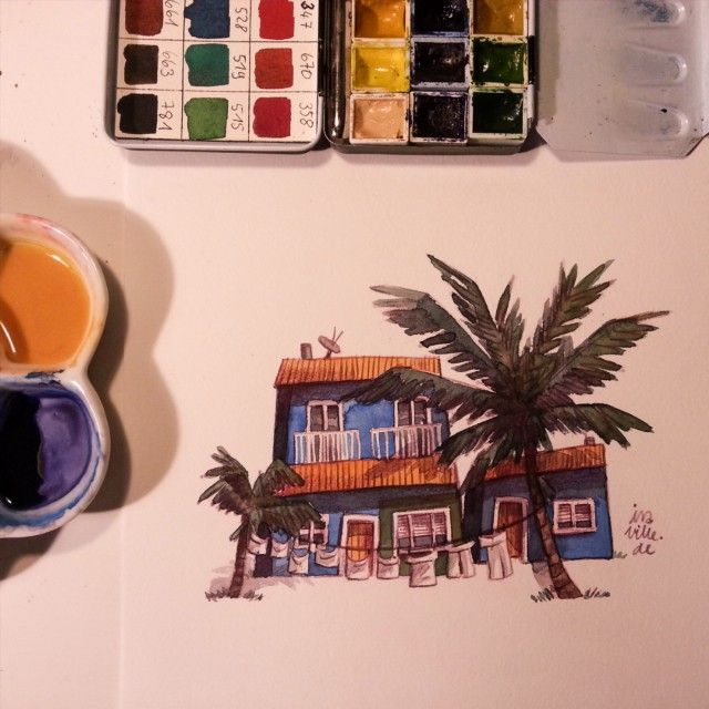 Tiny house with a bit more vibrant Color. I need vacation!!!  #tinyhouse #watercolor #watercolour #watercolors #art #artist #artistsoninstagram #sketch #sketchbook #sketching #palmtrees #holiday #vacation #illustration #illustrator #tinysketch #tinypainting #