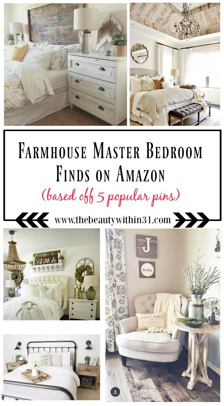 Here is a list of farmhouse master bedroom decor finds from amazon
