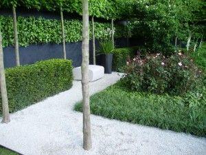 Puutarhan varjoisa osa henkii modernia suorakulmaisuutta. Puutarhan muurin musta väri saa kätevästi pienen puutarhan tuntumaan suuremmalta ja näyttää tyylikkäältä vihreyden rinnalla. Etualalla kasvaa yhtenäinen kenttä matalaa, mätästävää karhunnataa (Festuca gautieri).