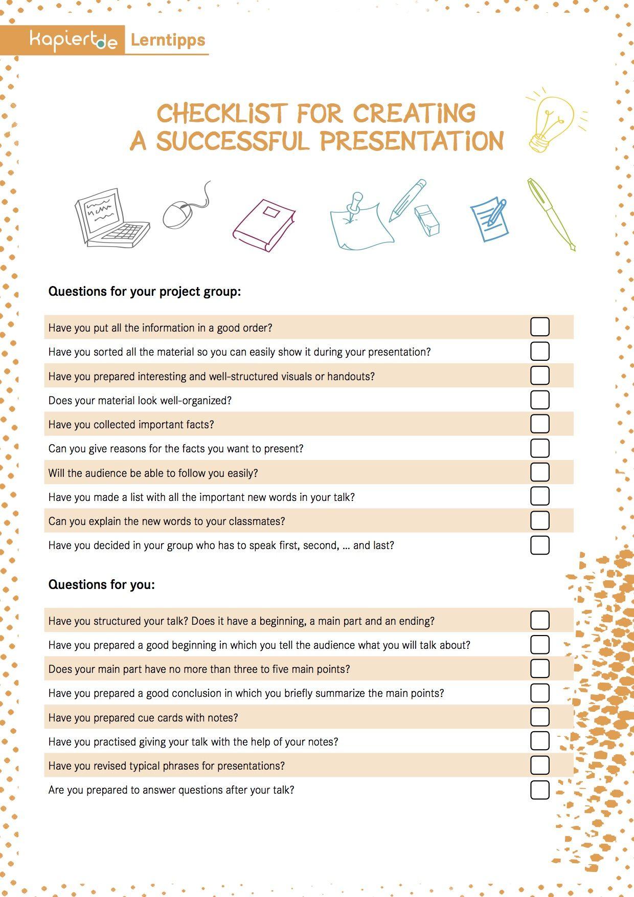Checklist For A Successful Presentation Sprachen Lernen Lernen Referat