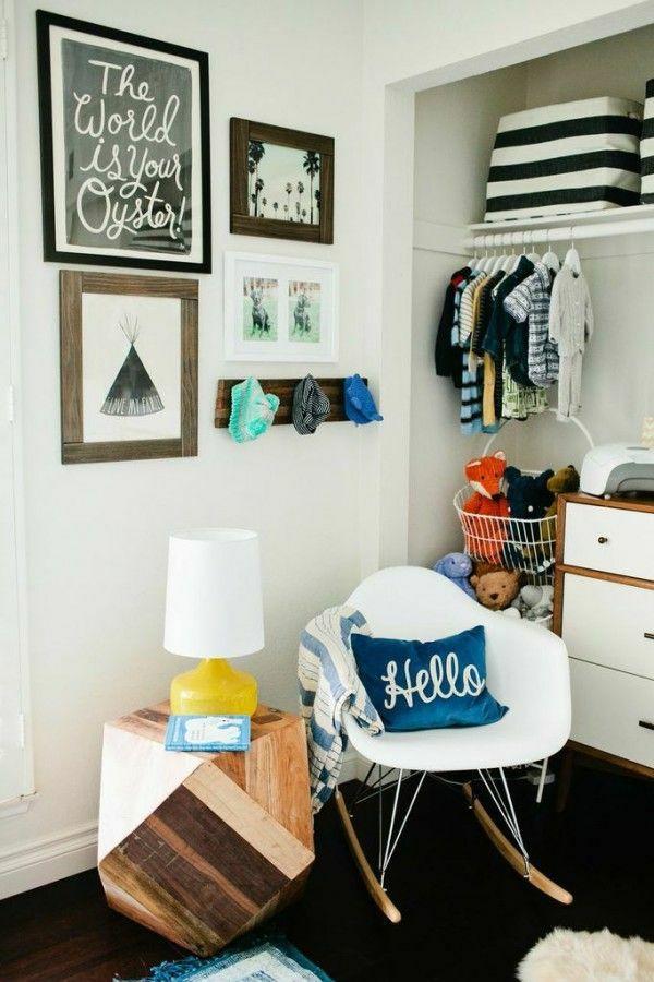 Babyzimmer schwarz weiß gestalten deko ideen wanddeko Kinderzimmer