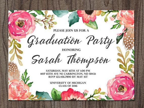 floral graduation invitation graduation open house party high