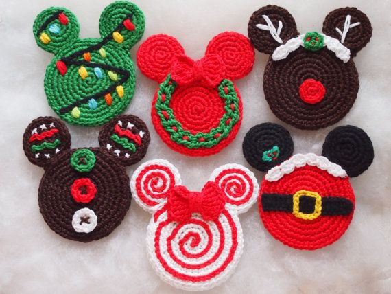mickey mouse minnie mouse crochet pattern christmas ornament christmas wreath christmas tree gingerbread santa claus lollipop rudolph - Mickey Mouse Ornaments Christmas