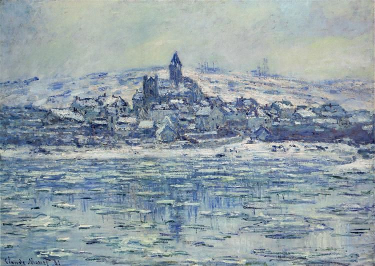 """Vetheuil, Ice Floes"" ・ by Claude Monet ・ Completion Date: 1881 ・ Style…"
