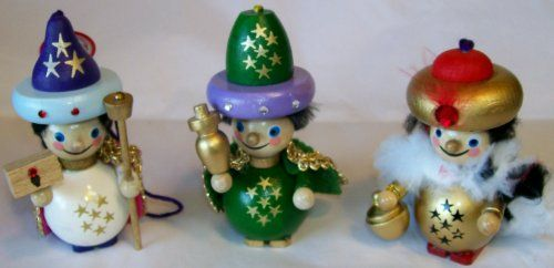steinbach christmas decorations ornaments handmade in germany wooden set of 3 the three - German Handmade Wooden Christmas Decorations
