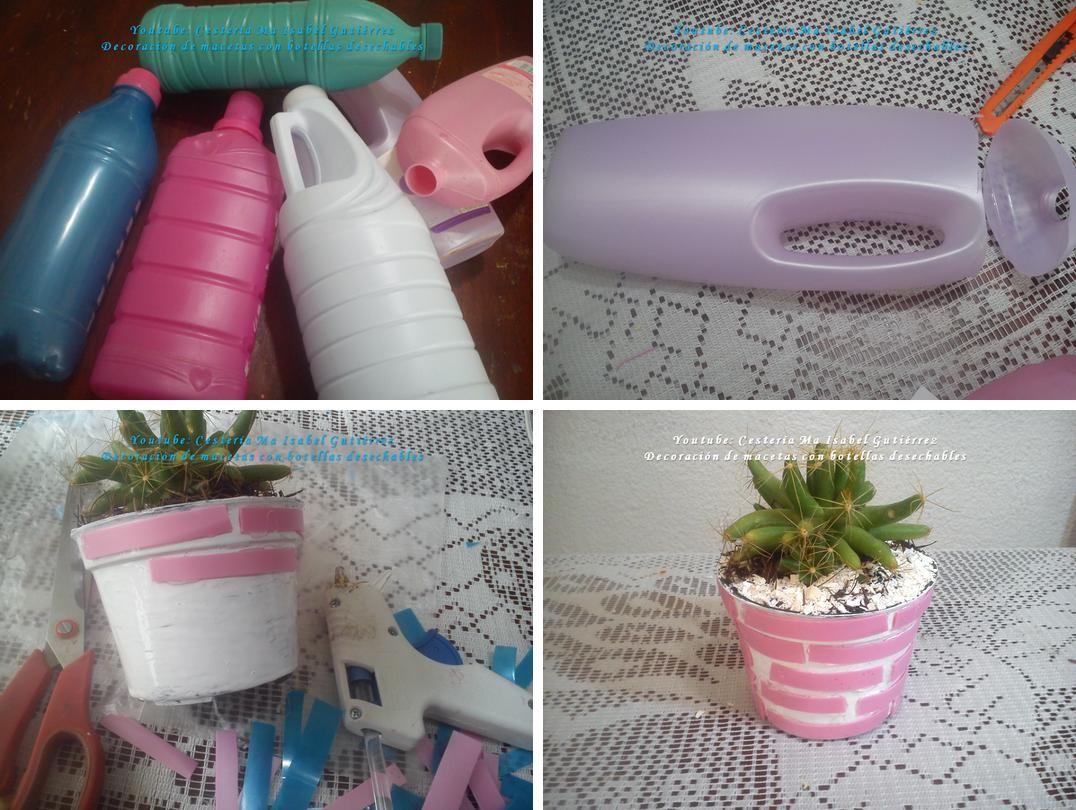 C mo decorar macetas con botellas desechables manualidades red facilisimo pinterest - Como decorar macetas ...