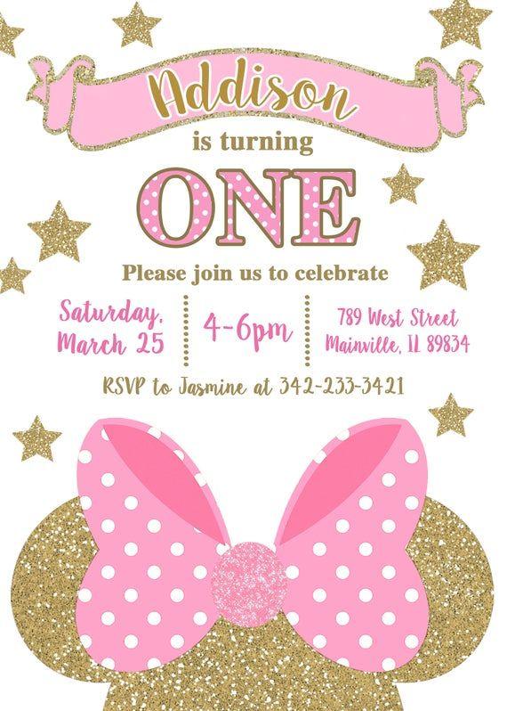 Invitación fiesta de cumpleaños de Minnie Mouse, rosa, oro, Minnie, cumpleaños, invitación cualquier edad-, digital o impreso