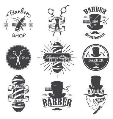 Vintage Barber Shop Emblems Vector Image On Vectorstock Vintage Barber Barber Shop Barbershop Design