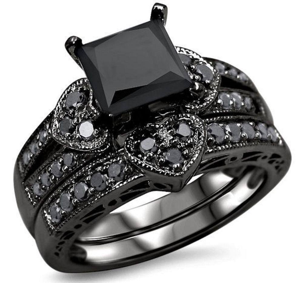 Engagement Ring 2 50ct Black Diamond Princess Silver Wedding