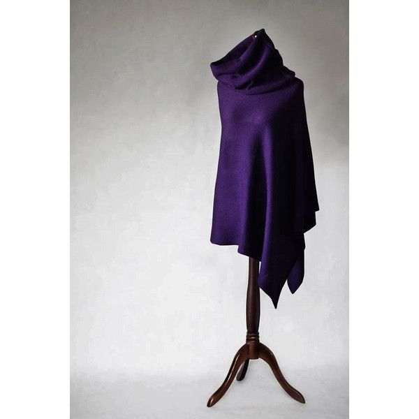 Women Sweater Knit Poncho Wool Poncho Purple Poncho Purple Scarf ...