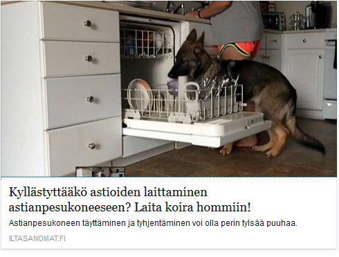 Kyllästyttääkö astioiden laittaminen astianpesukoneeseen? Laita koira hommiin! http://www.iltasanomat.fi/viihde/art-1428025804633.html https://www.facebook.com/profile.php?id=100009068054021