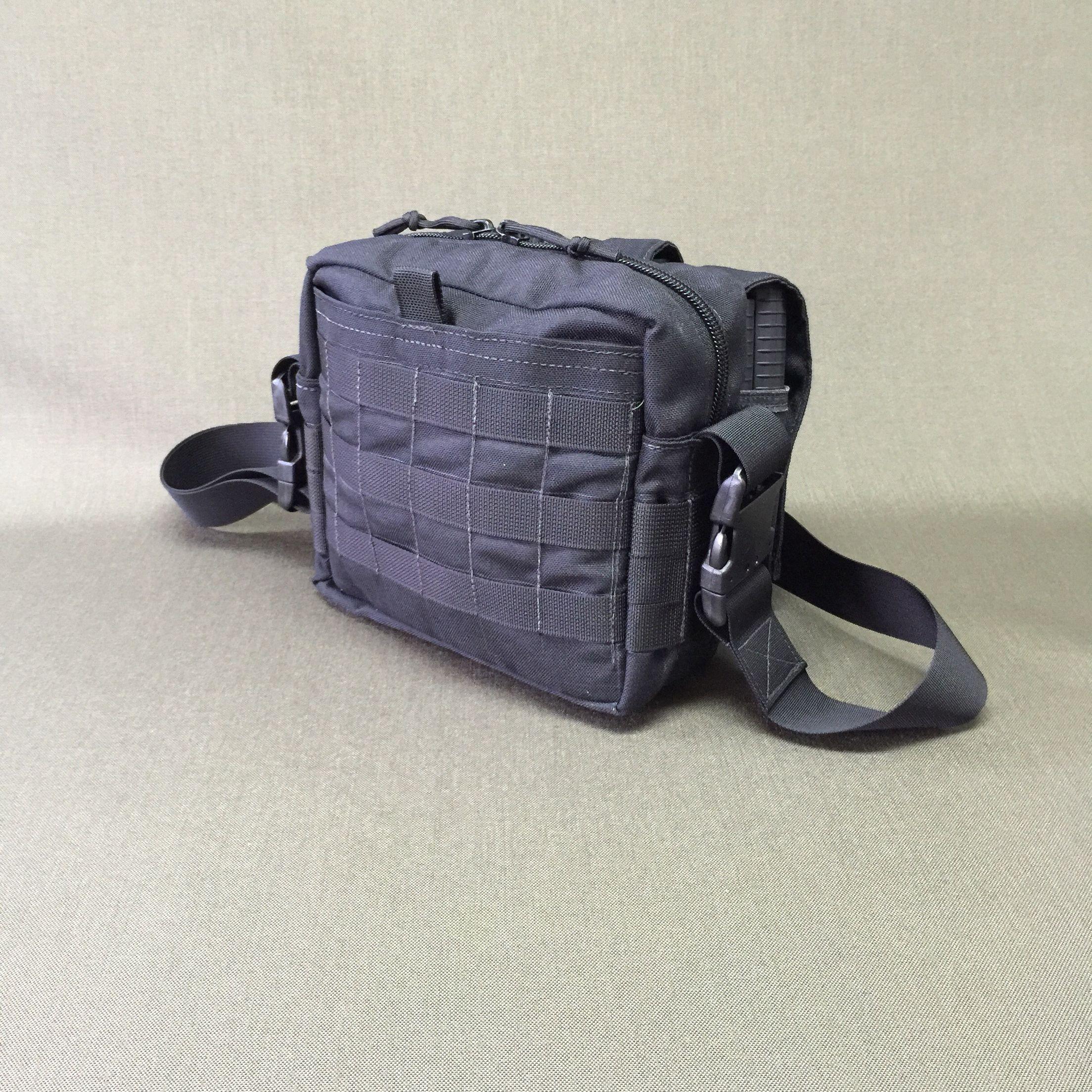 Wilde Built Tactical Nylon Active Shooter Bag MOLLE side.  Hidden pocket under MOLLE for concealed pistol.