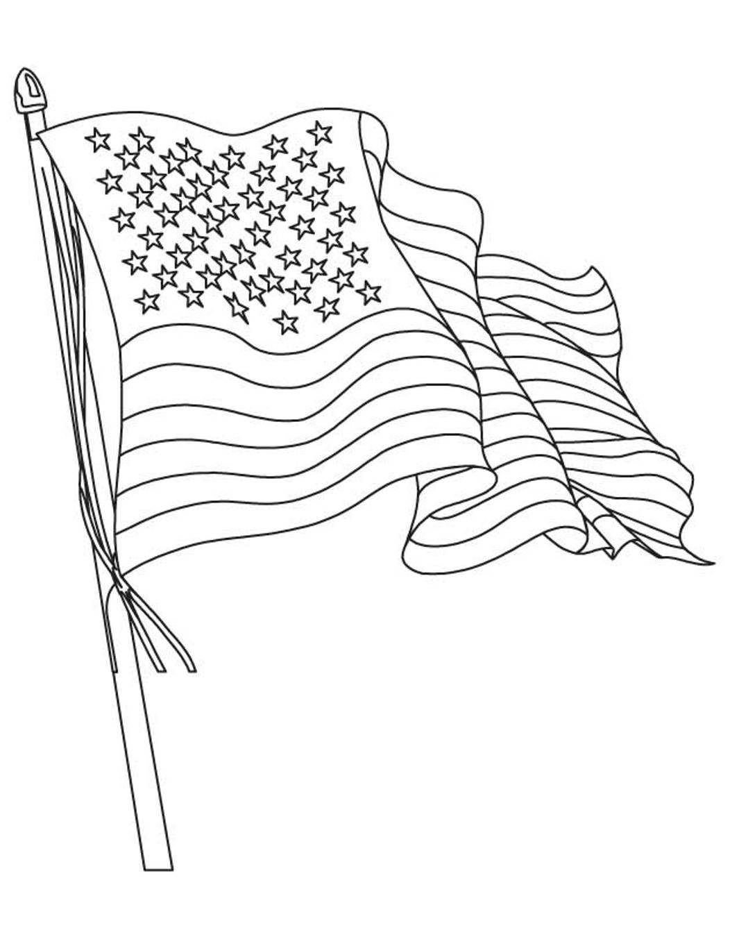 Flags Coloring American Flag Coloring Page Waving Flag