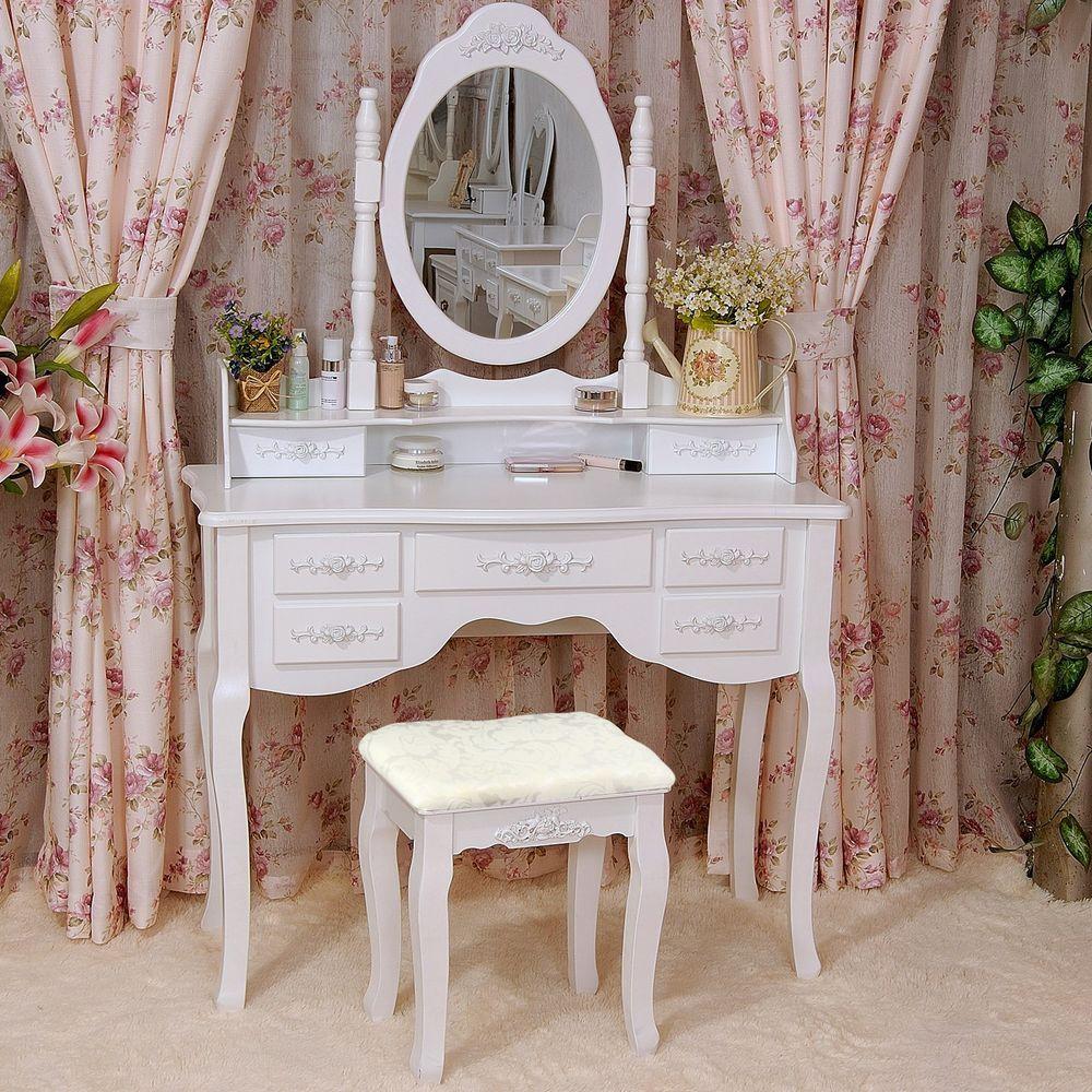 Vintage White Dressing Table Set Mirror Stool Vanity