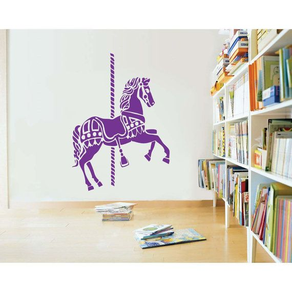 Merry go round carousel horse vinyl wall sticker decal 31h x 22w