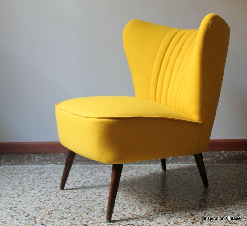 Fauteuil Jaune Vintage fauteuil cocktail 50's jaune - inspiration vintage | amazing
