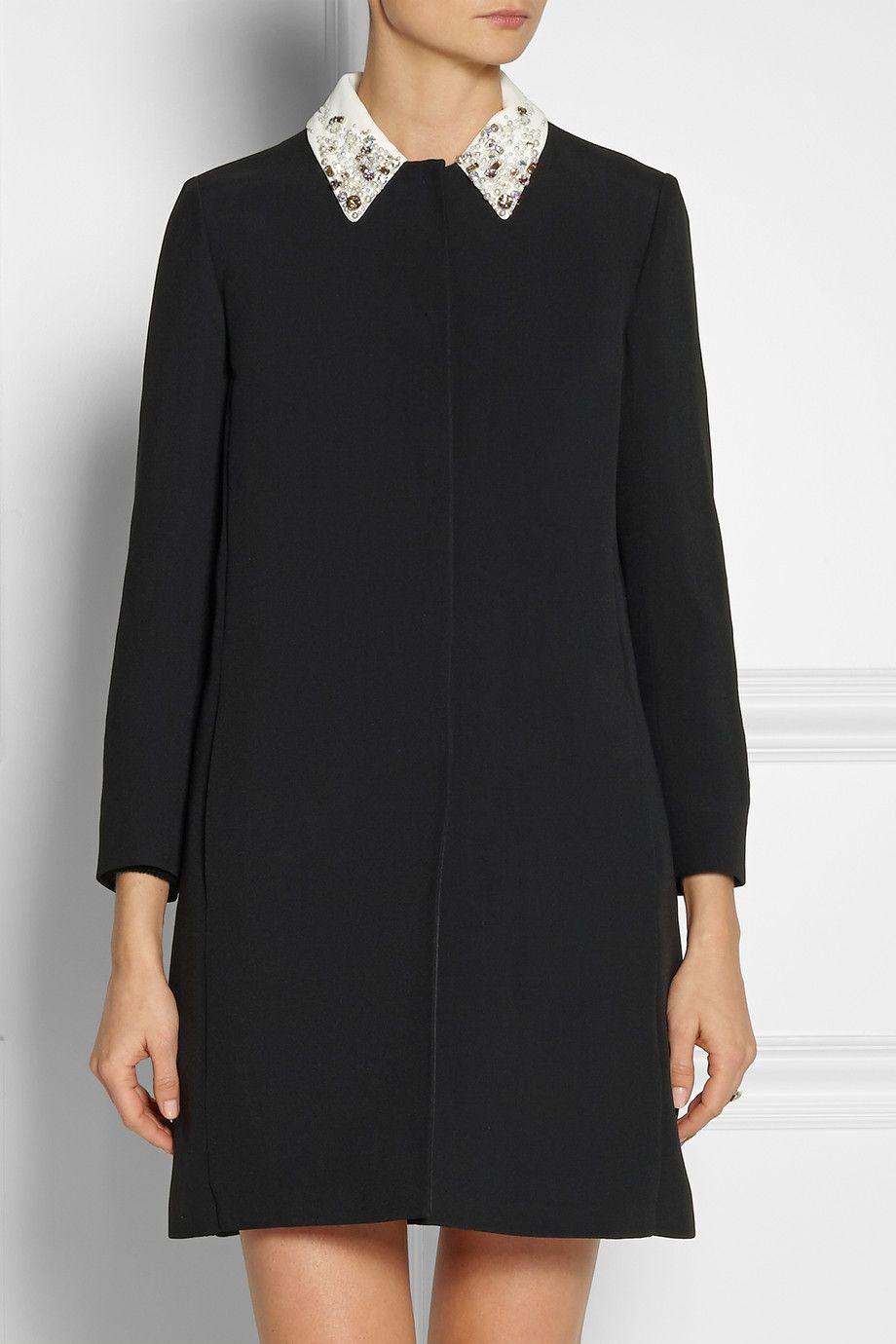 Embellished Miu Net Collar Porter Coat com Crepe A Uwq1wO
