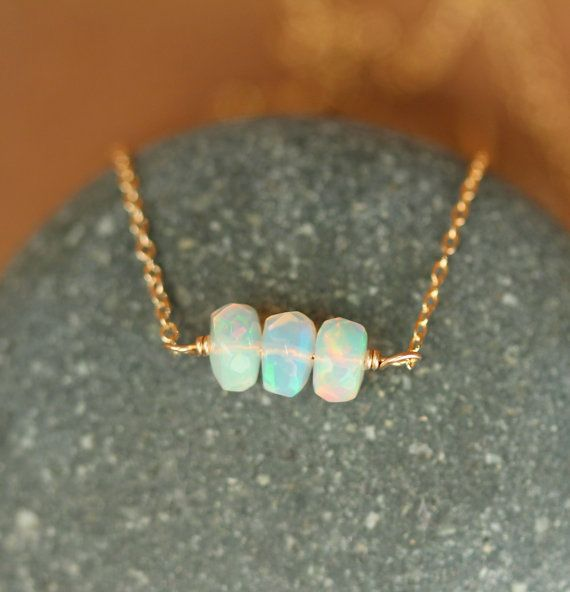 Opal necklace fire opal genuine opal natural opal by BubuRuby