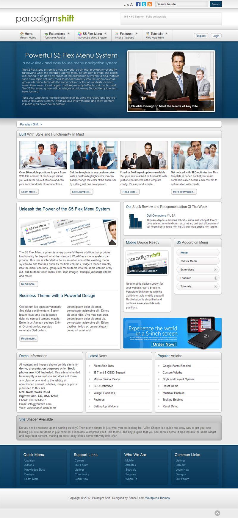 Paradigm Shift - Wordpress theme from Shape5 - designed for business & corporate websites. Clean design.