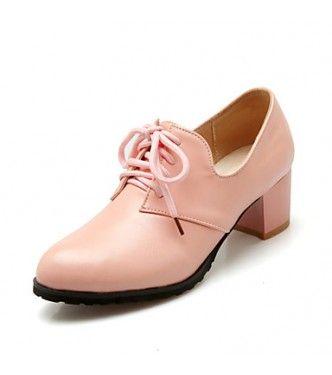 Chunky Heel Round Toe Closed Toe Heels Office Career Dress Casual Black Brown Pink Beige