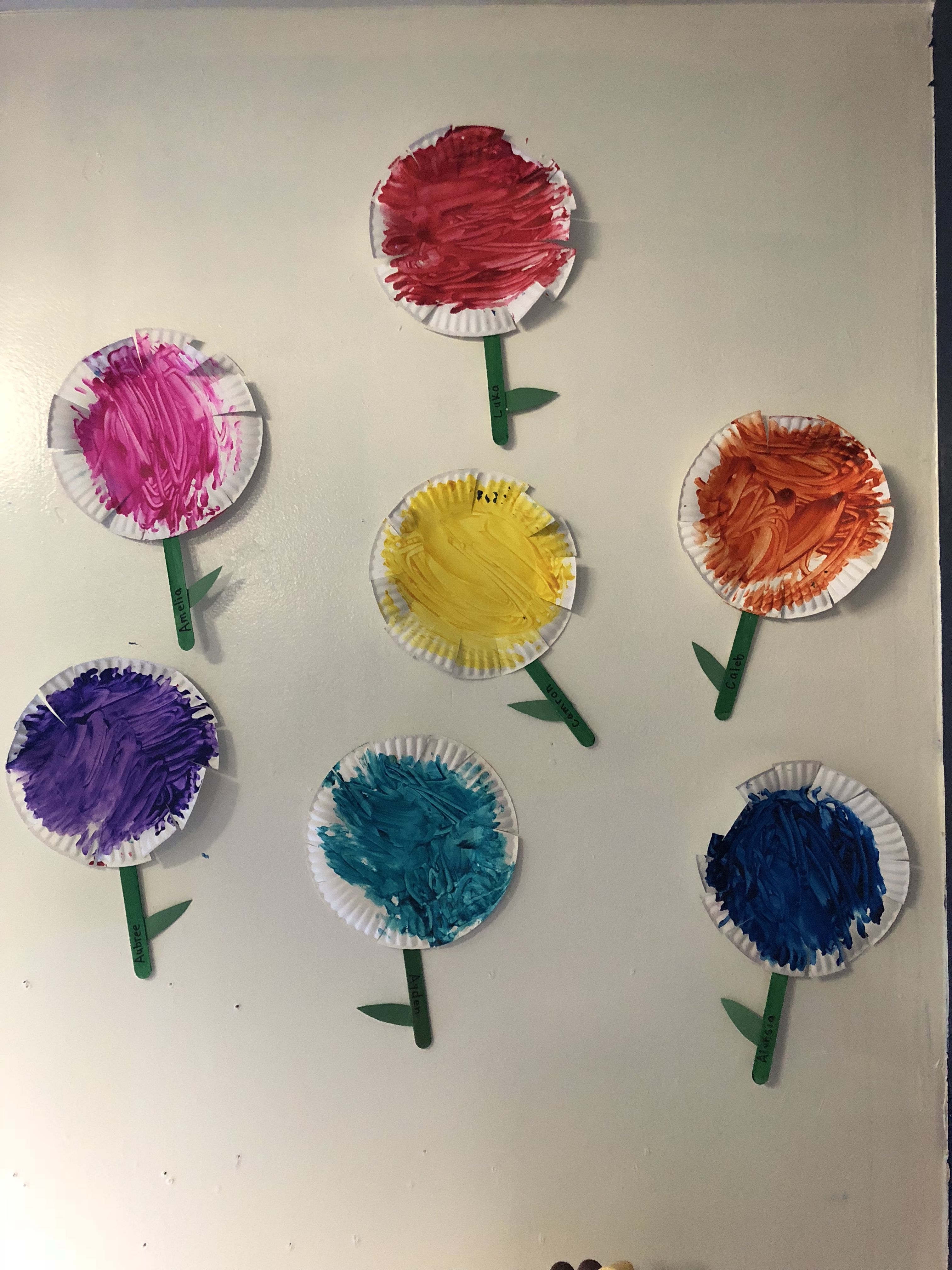 Painted Paper Plate Flower Art Activity For Toddlers And