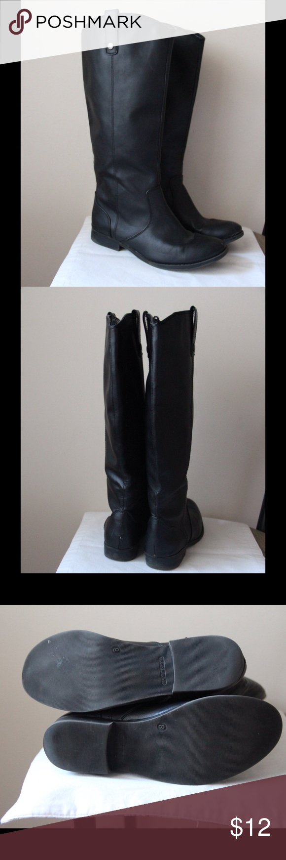 "Old Navy black riding boots Black colored faux leather riding style boots - short 1"" stacked heel - slip on style - 15"" boot shaft length - 15"" around top circumference - great condition - size 8 Old Navy Shoes"