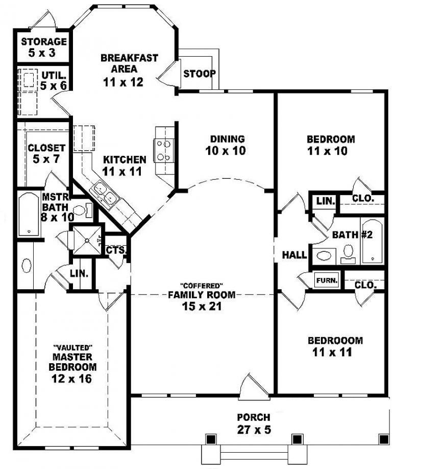 654069 one story 3 bedroom 2 bath ranch style house for House plans 3 bedroom 1 bathroom