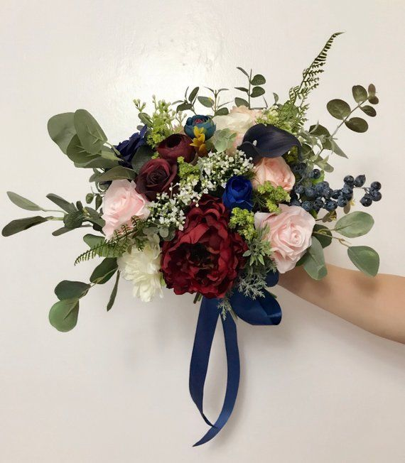 Wedding Bouquets bridal bridesmaids bouquets winter wedding Burgundy,navy blue ,wine,deep red Boho B