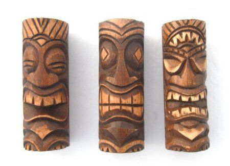 Amazon.com: Set/3 6 Inch Tiki Statues - Tiki Bar Decor - New: Home & Kitchen