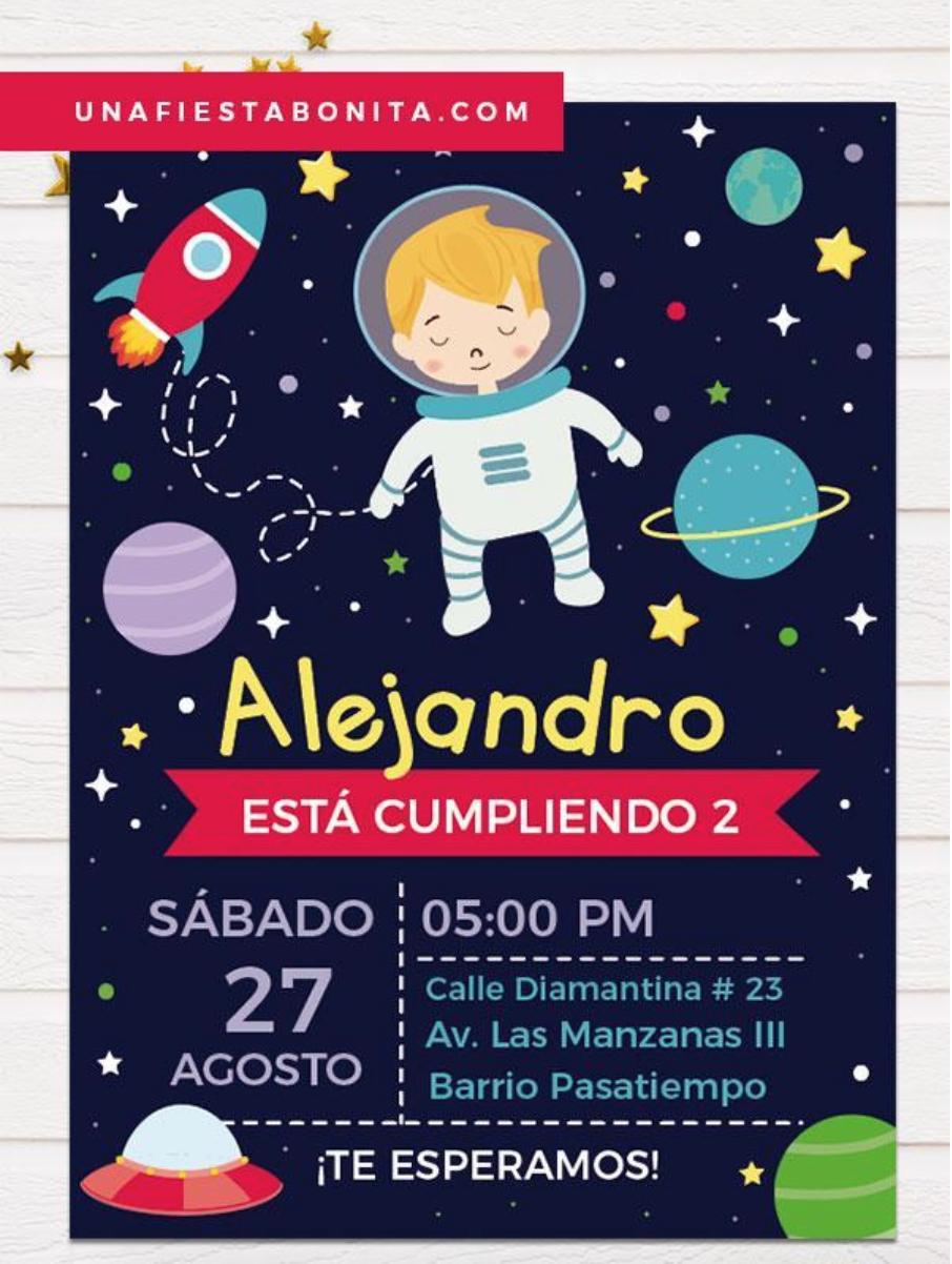 Invitación Para Cumpleaños Temática Astronauta En 2020