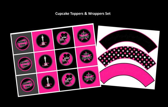 INSTANT DOWNLOAD  SET  Cupcake Toppers & Wrappers  by PartyPrintz