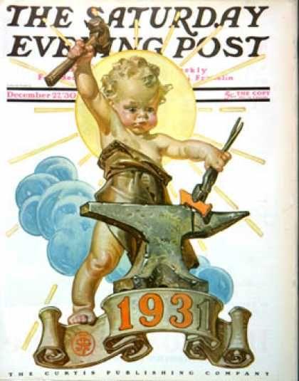 Happy New Year 1930-12-27: Forging a New Year (J.C. Leyendecker) Saturday Evening Post