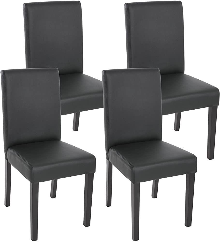 Mendler 4x Esszimmerstuhl Stuhl Küchenstuhl Littau Kunstleder Schwarz Matt Dunkle Beine Esszimmerstuhl Esszimmerstühle Stühle