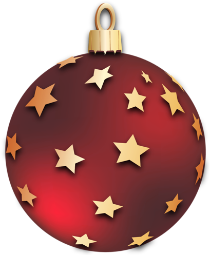 Transparent Red Christmas Ball with Stars Ornament Clipart | 3D ...