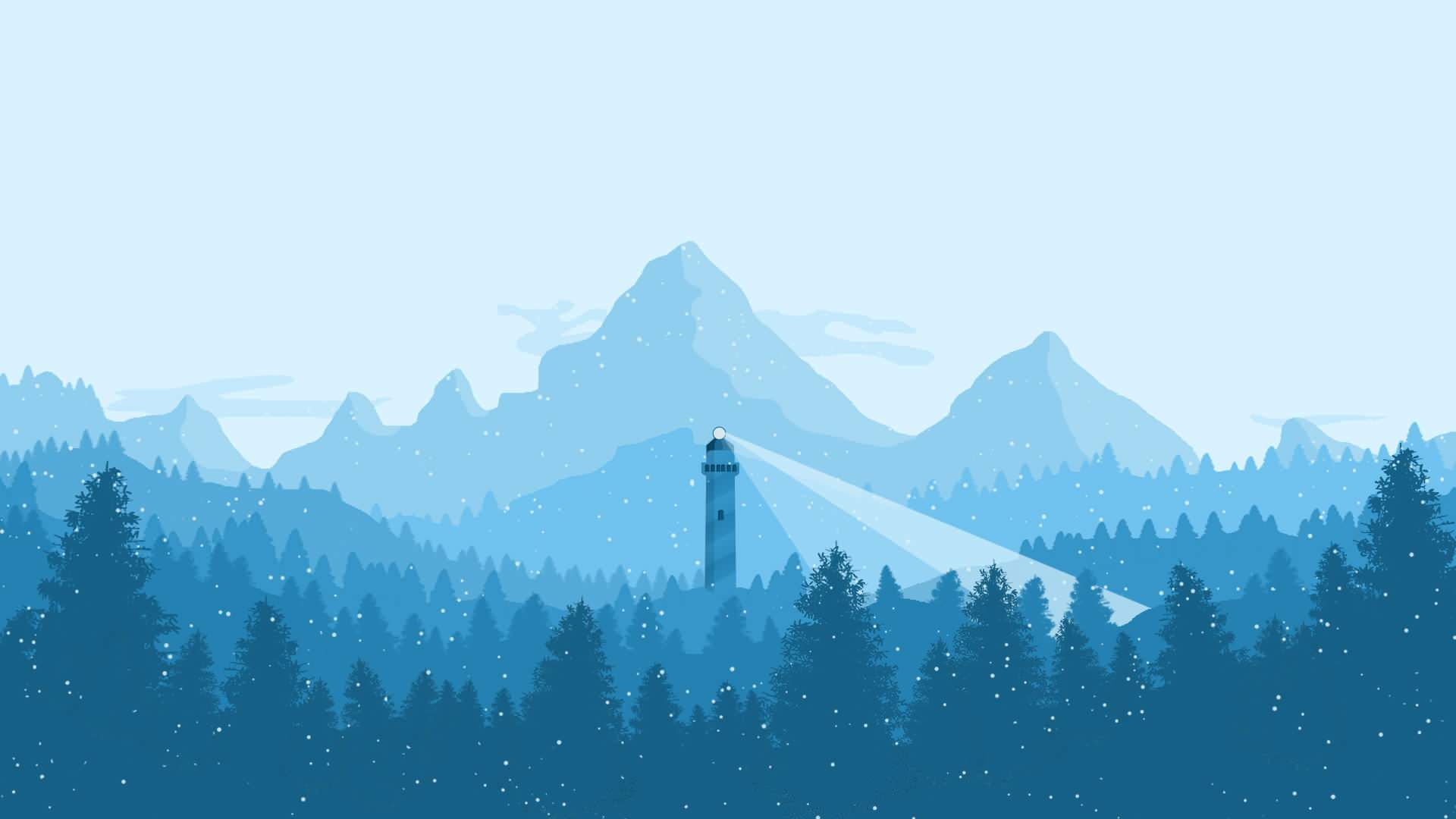 A Lighthouse in the Snow [1920x1080] Desktop wallpaper