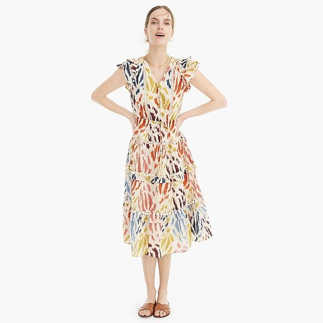 ac8005fac56642 Point Sur flutter-sleeve midi dress in printed cotton voile : Women dresses  and jumpsuits | J.Crew