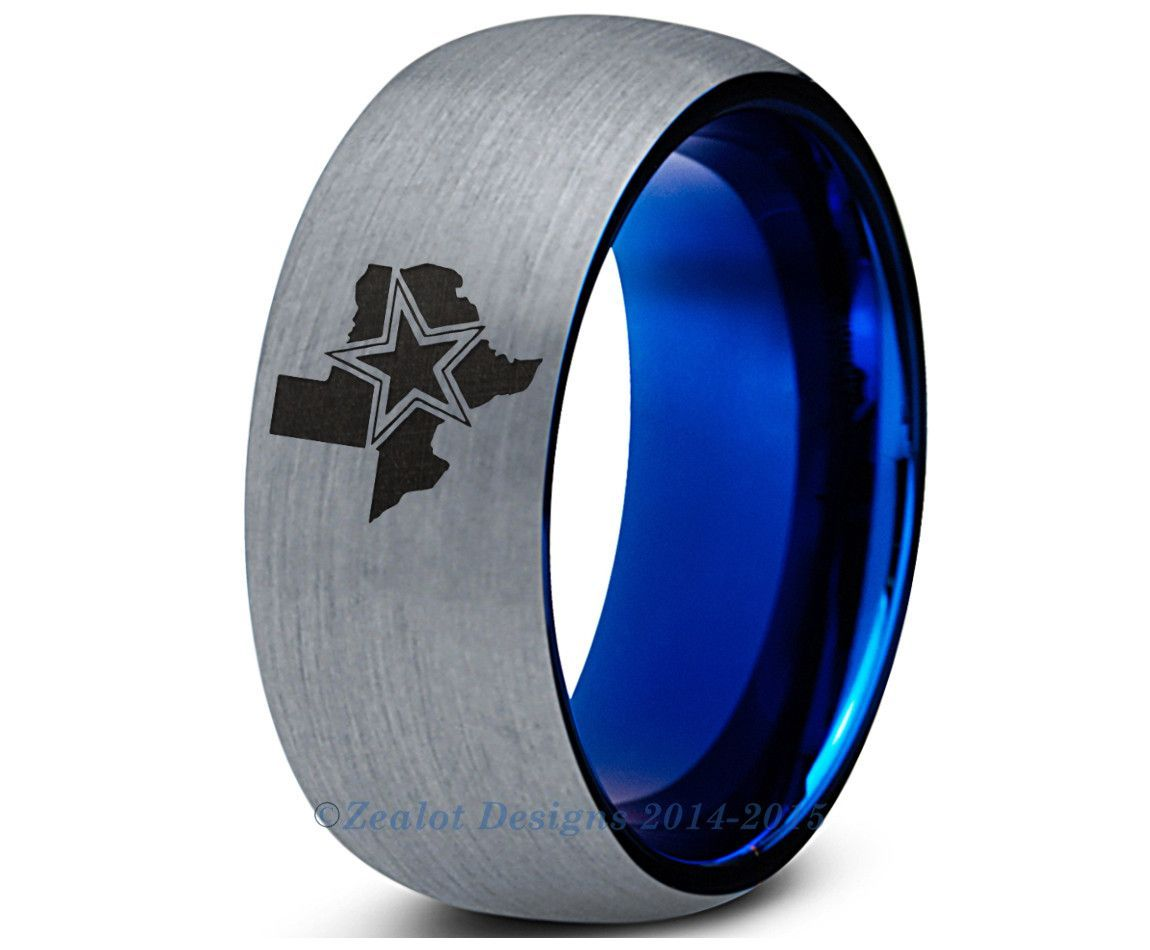 Cowboys Blue Tungsten Wedding Band Ring Mens Womens Dallas Cowboys Dallas Cowboys Rings Dallas Cowboys Wedding