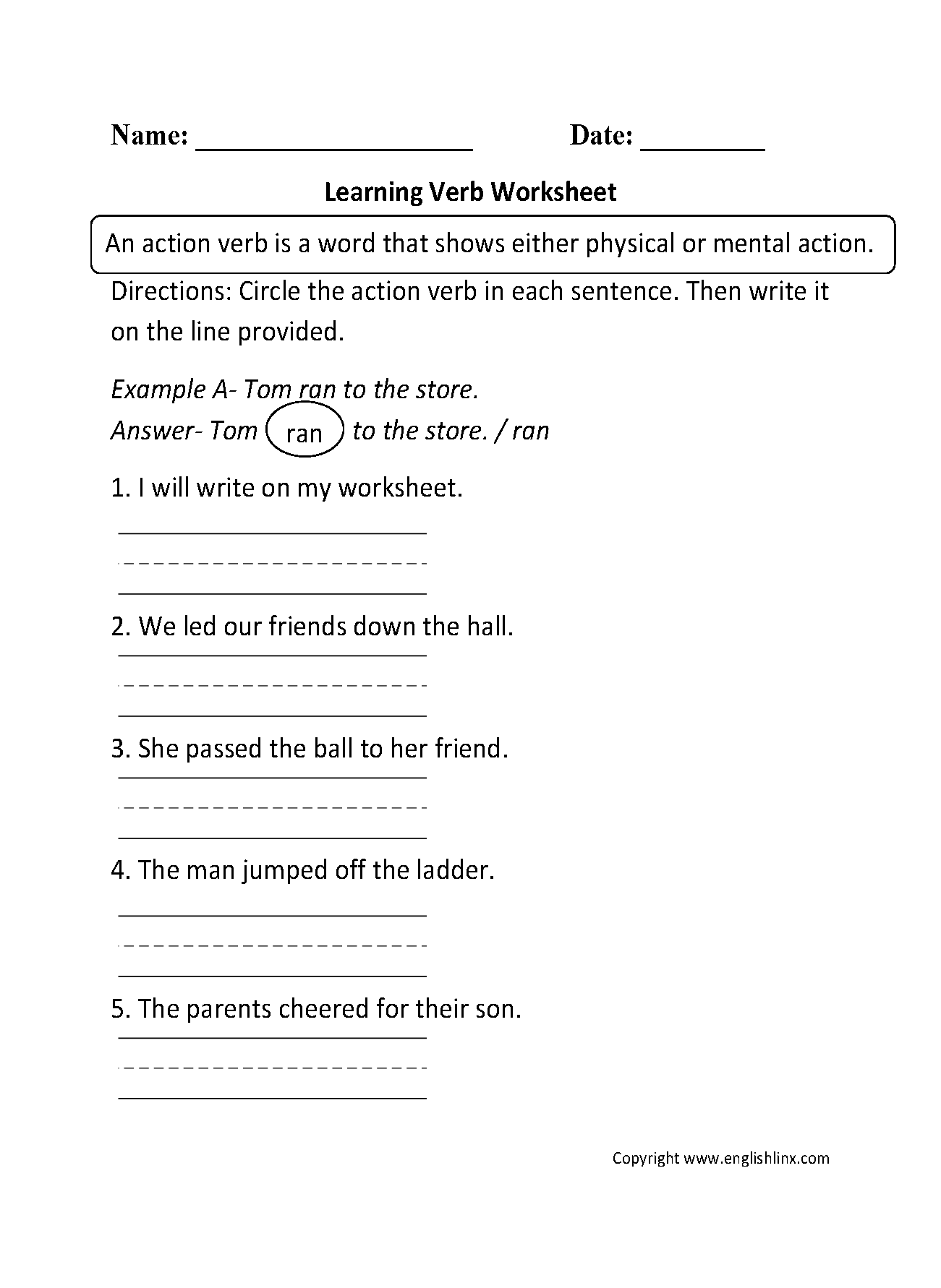 Learning Verb Worksheet