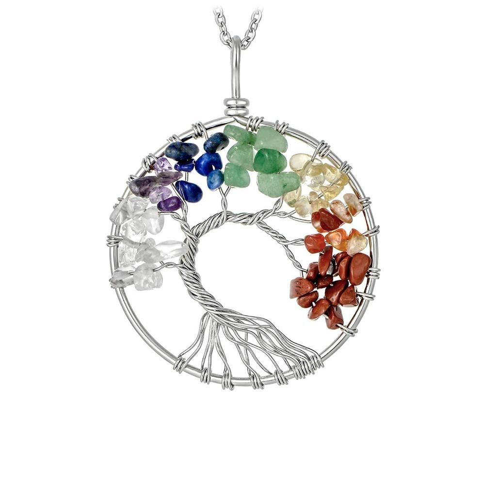 Blue sand stone Gemstone Tree Of Life Locket Retro Silver Pendant Jewelry making