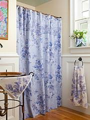 VICTORIAN ROSE BLUE SHOWER CURTAIN