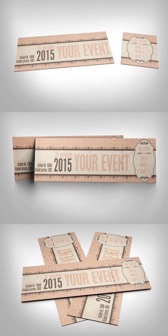 Vintage event ticket Pinterest Event ticket, Template and Fonts