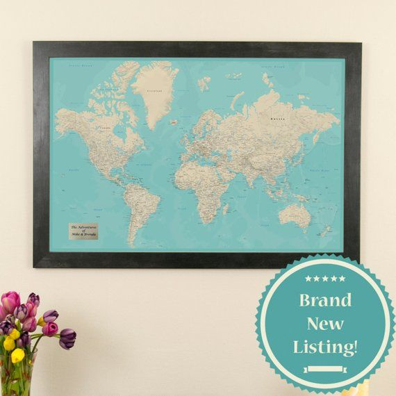 World Map Framed Wall Art.Personalized Teal Dream World Push Pin Travel Map Push Pin Travel