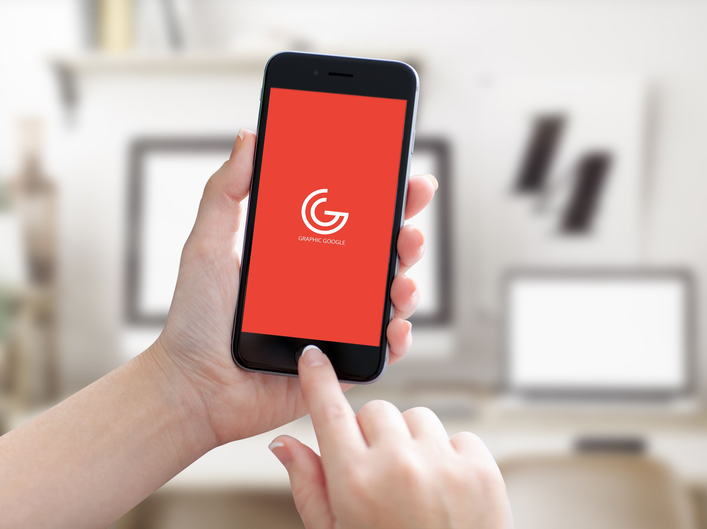 6 poster design photo mockups - Iphone 6 In Girl Hand Mockup Preview