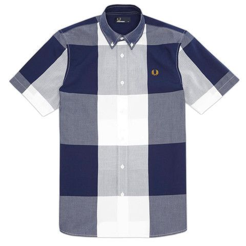 Fred Perry Magnified Gingham Shirt - Blue Granite