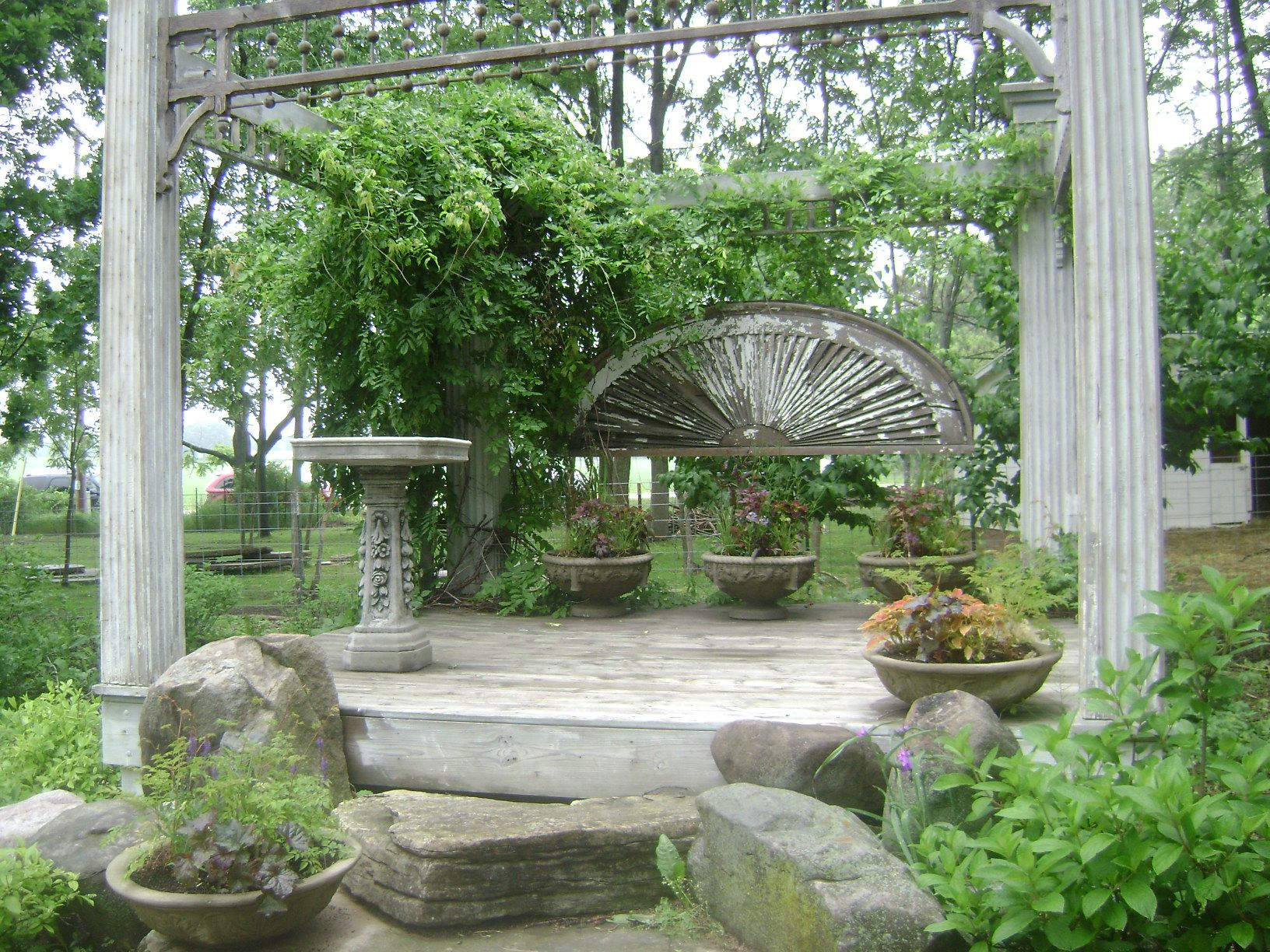pergola from old architectural elements