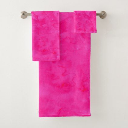 Neon Pink Watercolor Modern Bright Background Bath Towel Set