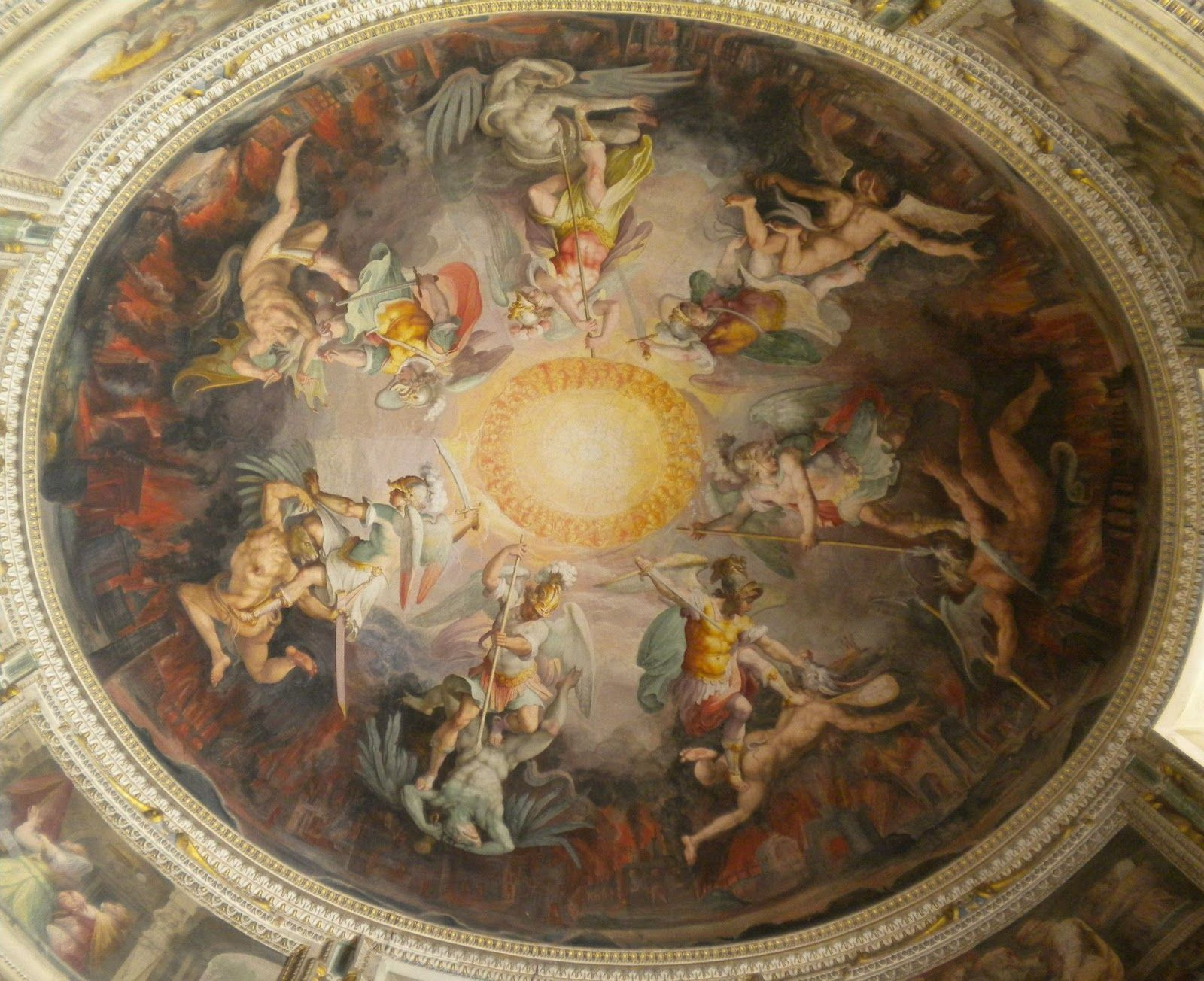 Angels And Demons Ceiling Painting Of Angels Battling