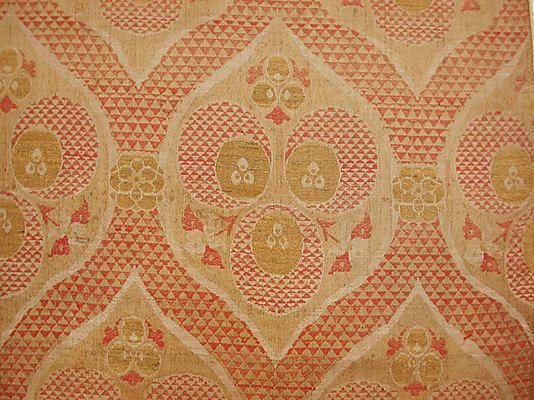 Textile Fragment  Object Name:     Fragment Date:     16th century Geography:     Turkey, Bursa Culture:     Islamic Medium:     Silk, metal wrapped thread; lampas (kemha)