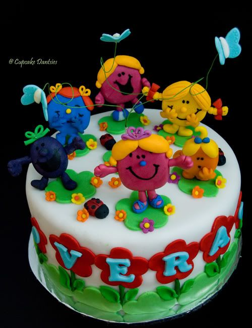 I Love The Name In The Flowers X Mr Men And Little Miss Party - Little miss birthday cake