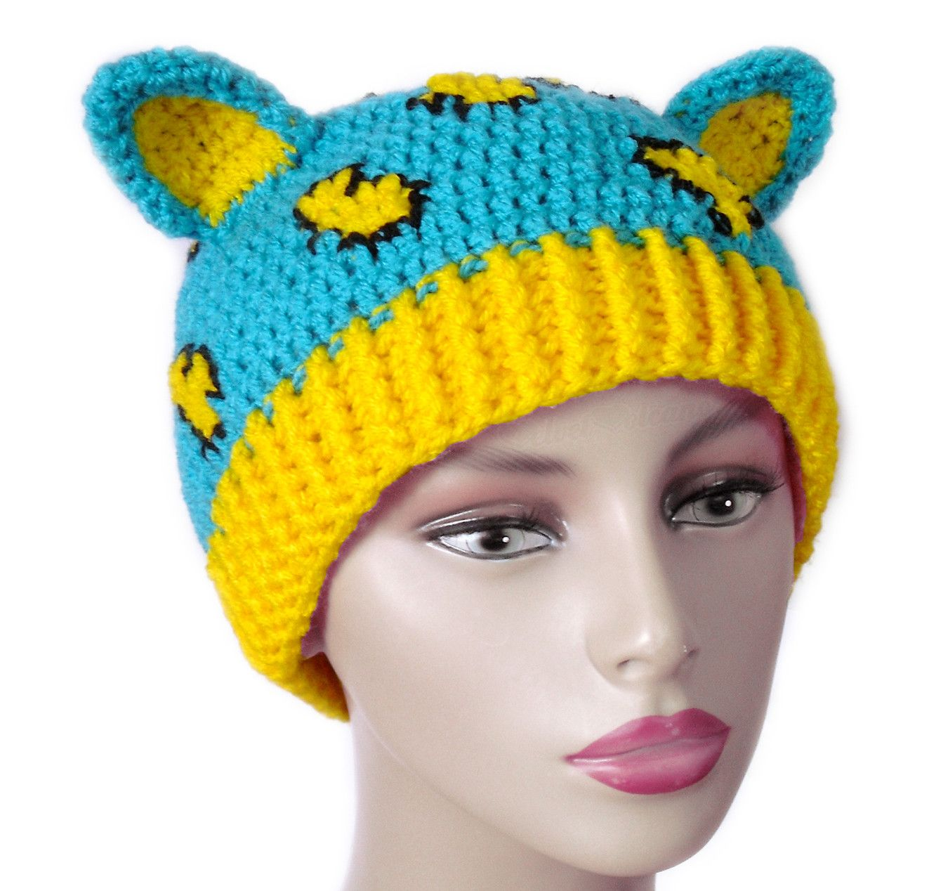 8950ff05a64 Custom Colour Leopard Beanie. Brightly Coloured Animal Print Cat Hat. Crochet  Kitty Ears Beanie. Kawaii Turquoise Yellow Leopard Print Hat with Cat Ears.